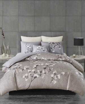 Natori N Sakura Blossom King 3 Piece Cotton Sateen Printed Duvet Cover Set Bedding