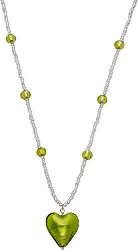 Glass Heart Amanti Venezia Lime Murano and Conterie Bead Necklace of Length 40-45 cm