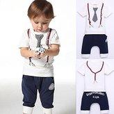 Fairy Season Cute Kids Boy Cotton Tie Belt Print Top T Shirt + Pants Baby Suit Outfits