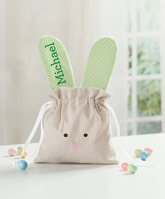 Personalized Planet Handbags - Green Gingham Personalized Linen Bunny Drawstring Bag