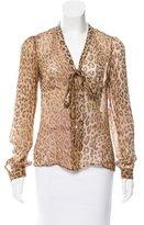 Dolce & Gabbana Silk Leopard Print Blouse
