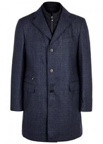 Corneliani Navy Water-resistant Checked Wool Coat