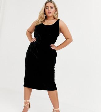 Asos DESIGN Curve velvet scoop neck midi slip dress-Black