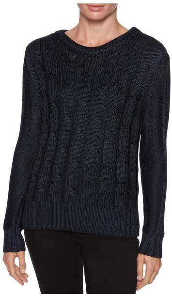 Magaschoni Long Sleeve Cable Knit Pullover