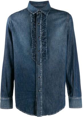Saint Laurent ruffle detail denim shirt