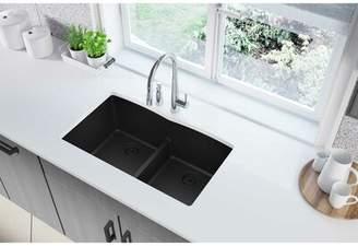 "Elkay Quartz Classic 33"" L x 19"" W Double Basin Undermount Kitchen Sink with Aqua Divide Finish: Black"
