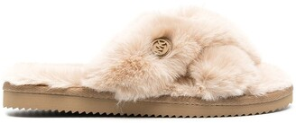 Michael Kors Collection Faux Fur-Trimmed Wrap Sandals