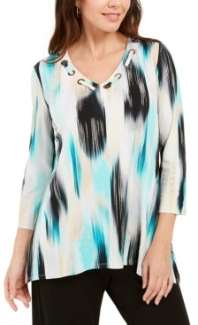 JM Collection Printed Grommet-Neck Top, Created for Macy's