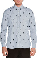 Tomas Maier Embroidered Palm Tree-Print Shirt, Navy