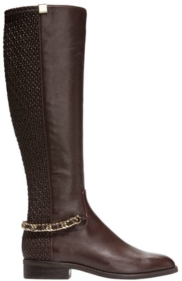 Cole Haan Idina Chain Stretch-Leather Riding Boots
