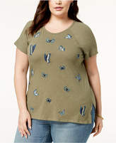 Lucky Brand Trendy Plus Size Embroidered Butterfly T-Shirt