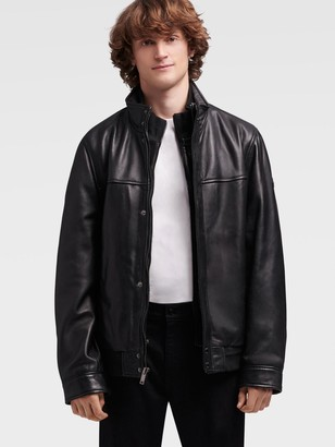 DKNY Leather Bomber With Bib
