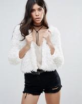 Brave Soul Curly Faux Fur Crop Jacket