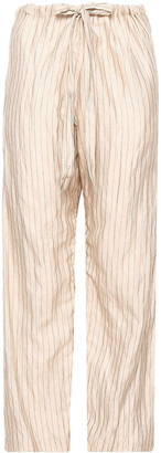 Forte Forte Metallic Pinstriped Cotton-blend Wide-leg Pants