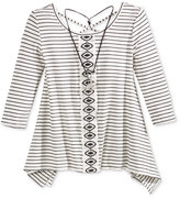 Beautees Cross-Back Handkerchief-Hem Stripe Top & Necklace, Big Girls (7-16)
