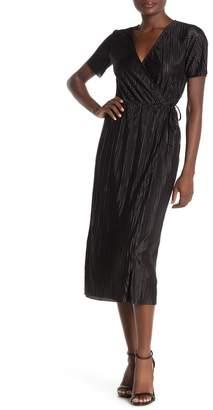 Lush Plisse Tie Waist Midi Dress