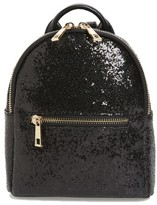 Mali + Lili Glitter Faux Leather Backpack - Black