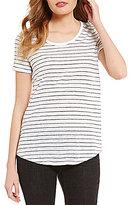 Eileen Fisher Soft V-Neck Short Sleeve Stripe Printed Tee