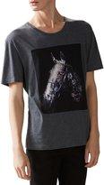 Gucci Men's Grey Cotton Flora Horse Print Jersey T-Shirt, Gray, 2XL