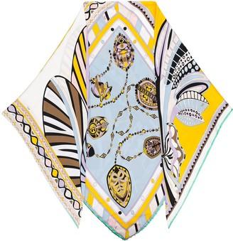 Emilio Pucci Faux-Pearl Embellished Silk Scarf