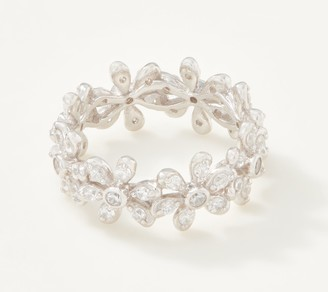 Diamonique Floral Eternity Band Ring, Sterling Silver