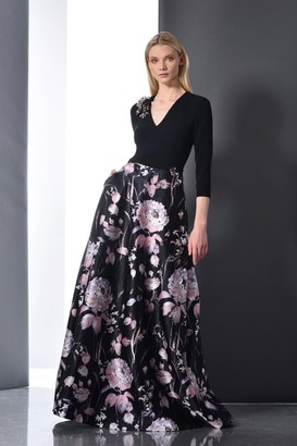 Theia 3/4 Sleeve Floral Evening Gown