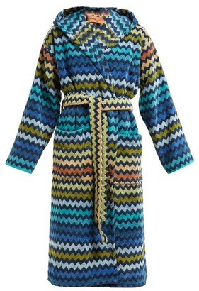 Missoni Home Warner Chevron-striped Cotton-terry Hooded Robe - Womens - Blue Multi