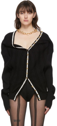 Y/Project SSENSE Exclusive Black Ruffle Necklace Cardigan