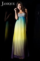 Janique - Strapless Sweetheart Ombre Chiffon Empire Waist Maxi Dress With Studded Bust K6033