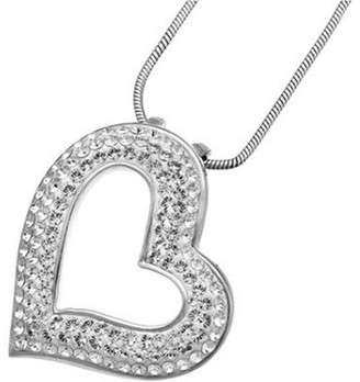 Swarovski Oliver Weber Life Collection Necklace with Heart-Shaped Crystal Pendant Rhodium Plated