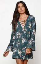 Honey Punch Floral Print Long Bell Sleeve Dress