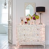 Graham and Green Classic Mother Of Pearl Inlay Chest Of Drawers In White