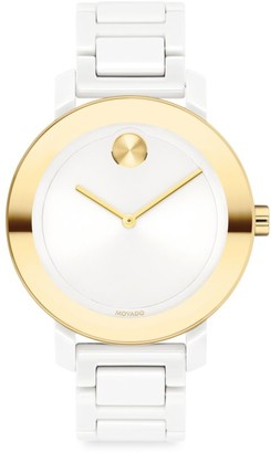 Movado Bold Evolution Ceramic & Goldtone IP Bracelet Watch