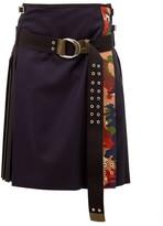 La Fetiche - Hand-pleated Wool Kilt Skirt - Womens - Black Navy