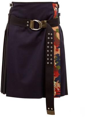 La Fetiche - Hand Pleated Wool Kilt Skirt - Womens - Black Navy
