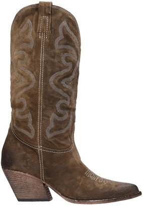 Elena Iachi Texan Boots In Taupe Suede