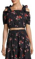 Rebecca Taylor Margurite Pop Floral Cold Shoulder Crop Top