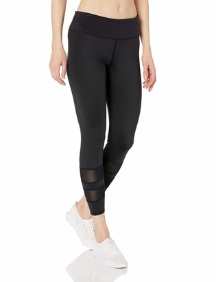 Andrew Marc Women's Compression 7/8th Length Legging with Varsity mesh Stripe