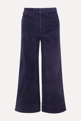 Madewell Emmett Cropped Stretch-cotton Corduroy Wide-leg Pants - Navy