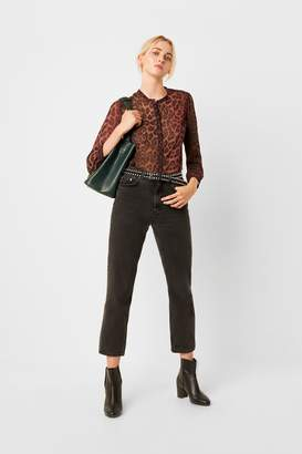 French Connection Annalia Leopard Georgette Collarless Blouse
