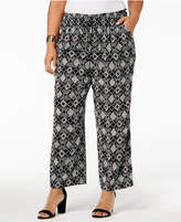 Kasper Plus Size Printed Wide-Leg Pants
