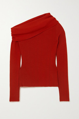 Monse Off-the-shoulder Ribbed Wool-blend Sweater - Red