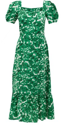 HVN Fromer Farm-print Silk-crepe Dress - Womens - Green Print
