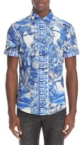 Versace Men's Trim Fit Tie Dye Short Sleeve Sport Shirt