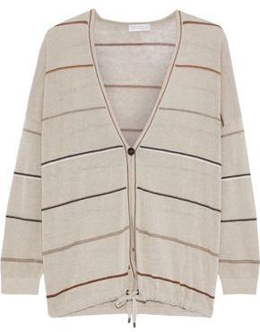 Brunello Cucinelli Metallic Striped Linen-blend Cardigan