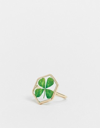 ASOS DESIGN ring with pressed four leaf clover in gold tone