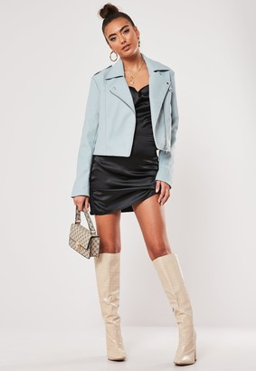 Missguided Blue Faux Leather Ultimate Boxy Biker Jacket