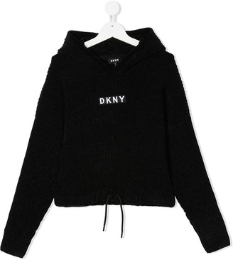 DKNY TEEN cropped ribbed-knit hoodie