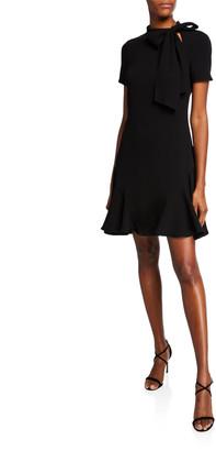 Shoshanna Bosher Mock-Neck Short-Sleeve Mini Dress with Bow Detail