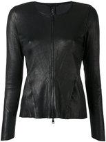 Giorgio Brato zipped fitted jacket - women - Cotton/Leather/Spandex/Elastane - 40